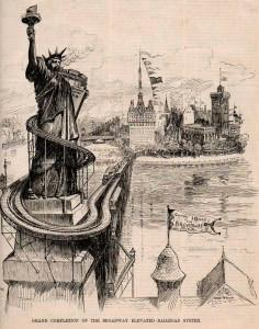 Cartoon from Harper's Weekly on May 28, 1887 turned Lady Liberty into a subway station. (Click to enlarge)
