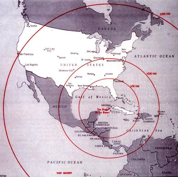 This Cuban Missile Crisis Map from the 1960′s showed the range of Soviet missiles in Cuba. Today, all of North America is in range of Russian missiles based in Cuba.