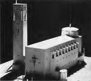 Model of the shrine for peace being erected at the center of the bomb blast.