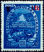 "1952 postage stamp announcing: ""In 1955 the Danube–Black Sea Canal will come into use."""